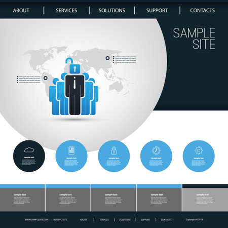 website header: One Page Website Template with Business Themed Header Design