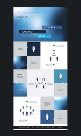 One Page Website Template with Blurred Header Design and Contents