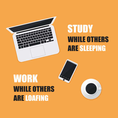 smart goals: Study While Others Are Sleeping. Work While Others Are Loafing. - Inspirational Quote, Slogan, Saying On An Orange Background