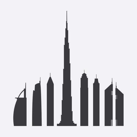 Collection of Seven Famous Skyscraper Silhouettes in Dubai Illustration