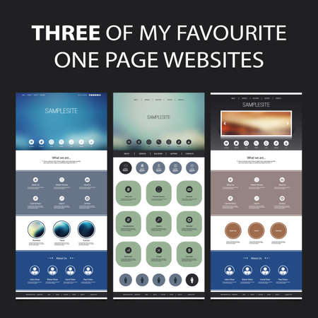 Set of One Page Website Design Templates for Your Business with Abstract Blurred Header Concept Illustration
