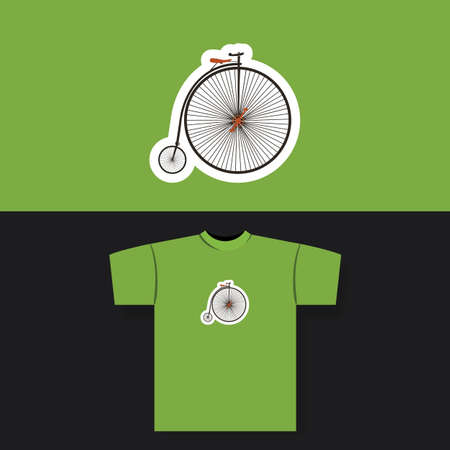 old school bike: T-shirt Print Design Concept With Vintage Bicycle
