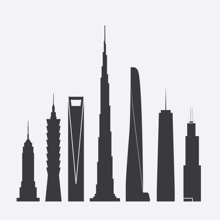 world trade center: Set of Vector Illustrations of Famous Skyscrapers