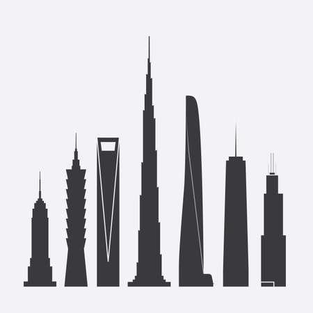 Set von Vektor-Illustrationen des berühmten Wolkenkratzer Standard-Bild - 58430142