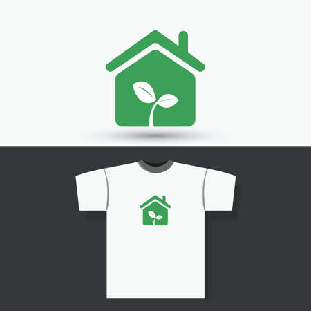 eco home: T-shirt Print Design Concept With Eco Home Illustration