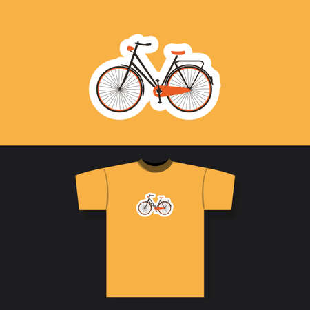 casual clothing: T-shirt Print Design Concept With Vintage Bicycle