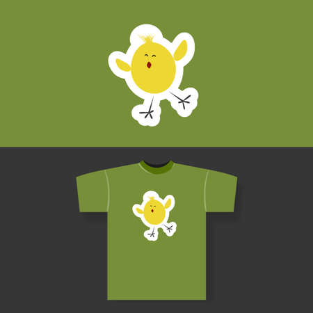 hatchling: T-shirt Print Design Concept With Small Chicken Illustration