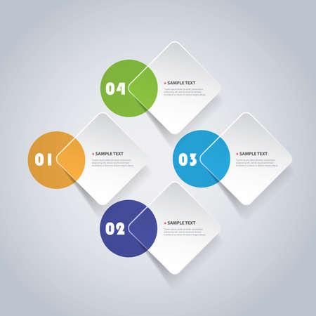 Colorful Minimal Paper Cut Infographics Design - Round Squares
