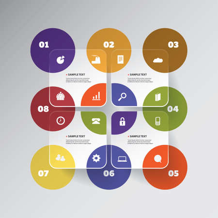 ci: Colorful Minimal Paper Cut Infographics Design - Round Squares With Circles Illustration