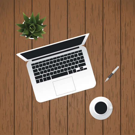 nomad: Laptop, Coffee Cup, Pen: Work Tools of a Digital Nomad - Modern Style Flat Illustration, Business Vector Design Concept on Wooden Background