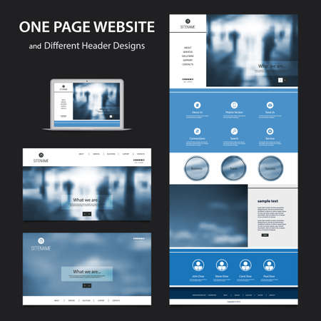 wordpress: One Page Website Design Template for Your Business with Different Blurred Headers Illustration
