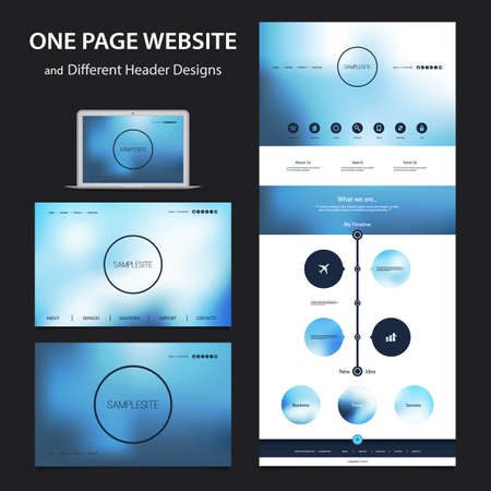 One Page Website Design Template for Your Business with Different Blurred Headers 일러스트