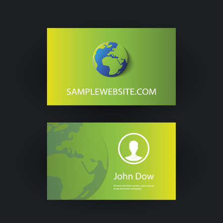business card template: Business Card Template with Earth Globe