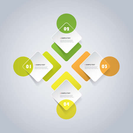 Colorful Minimal Paper Cut Infographics Design, Presentation Template - Round Squares