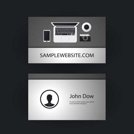 freelancer: Business Card Template with Flat Design for Freelancer Designers Illustration
