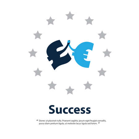 british pound: Together Is Better - Let UK Stay in the EU - Design Template With British Pound And Euro Signs Hand in Hand Illustration