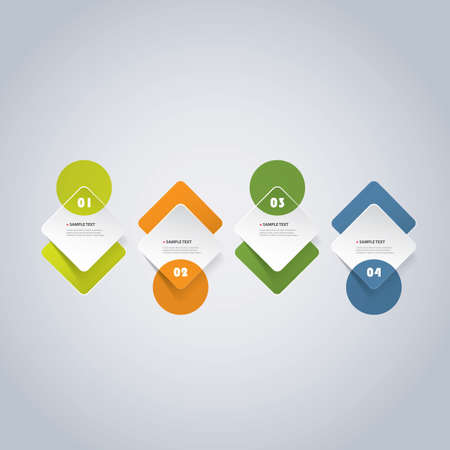 rounded: Colorful Minimal Paper Cut Infographics Timeline Design - Round Squares With Circles