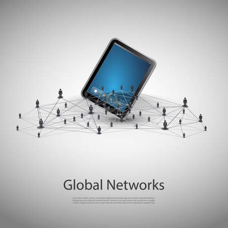 a structure: Networks - Business Connections - Social Media Concept Design Illustration