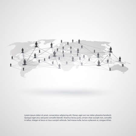 Networks - Business Connections - Social Media Concept Design 일러스트