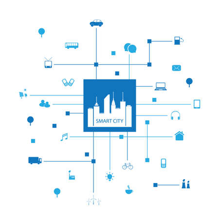 Smart City Design Concept with Icons Ilustrace
