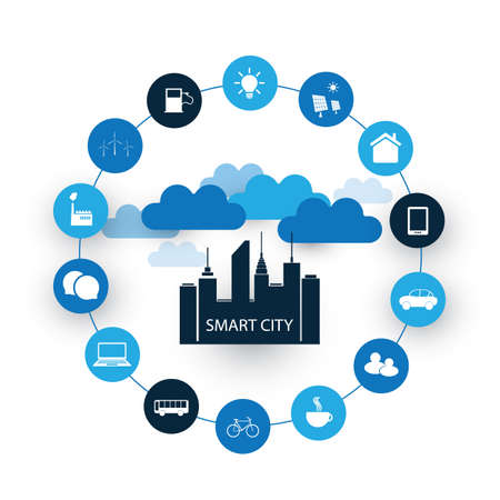 Smart City Design Concept met pictogrammen Stock Illustratie