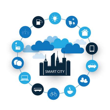 Smart City Design Concept z ikonami