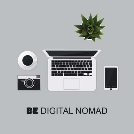 nomad: Be A Digital Nomad - Inspirational Quote, Slogan, Saying Concept Illustration