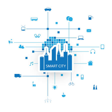 Smart City Design Concept with Icons Stock Illustratie