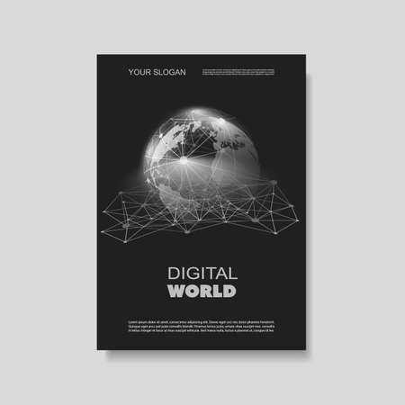 digital world: Flyer or Cover Design with Networks, Connections - Digital World