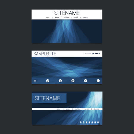 submenu: Web Design Elements - Header Design Set with Dark Blue Abstract Transparent Shapes Background