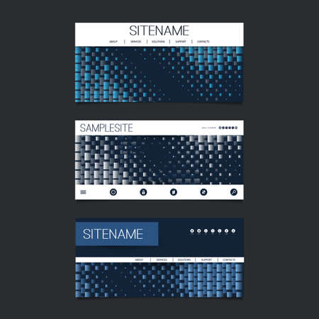 submenu: Web Design Elements - Header Design Set with Dark Blue Abstract Spotted Shapes Background
