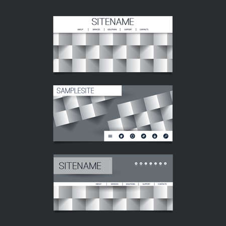 submenu: Web Design Elements - Header Design Set with Black and White Abstract 3D Cubic Pattern Background