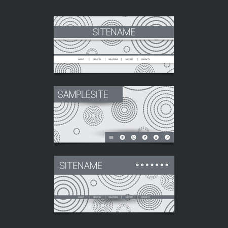 submenu: Web Design Elements - Header Design Set with Black and White Abstract Vintage Style Background Pattern