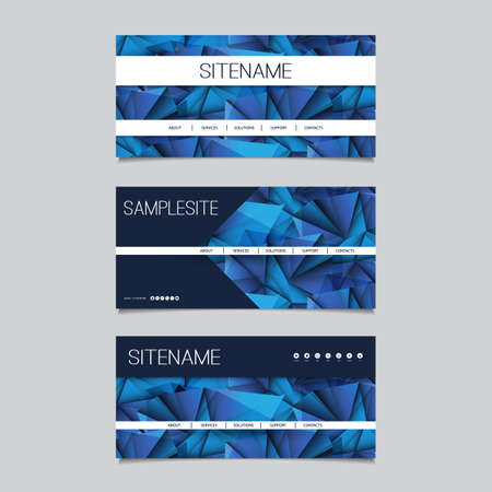 Abstract design: Web Design Elements - Header Design Set with Dark Blue Abstract Background Pattern
