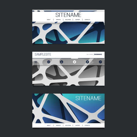 submenu: Web Design Elements - Header Design Set with Abstract 3D Blue and Grey Networks Pattern Background Illustration