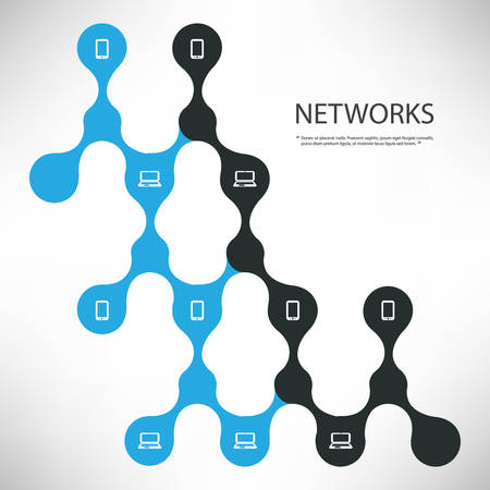 peer: Connections - Black and Blue Digital Network Design Concept With Connected Icons Layout - Technology Template Illustration Illustration
