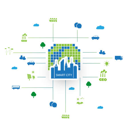 smart: Eco Friendly Smart City Design Concept with Icons