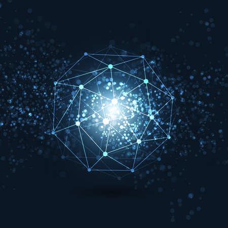 Minimal Cloud Computing, Digital Networks Structure, Télécommunications Concept design, Connexions Style moderne Réseau mondial, Transparent géométrique Globe Filaire - vecteur Illustration