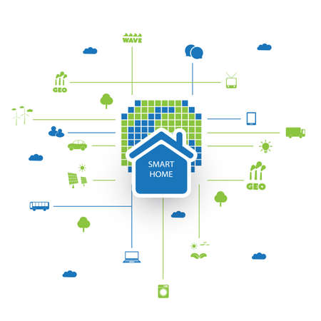 green computing: Green Eco Friendly Digital Smart Home, Cloud Computing, Internet of Things, Technology Design Concept with Icons Illustration