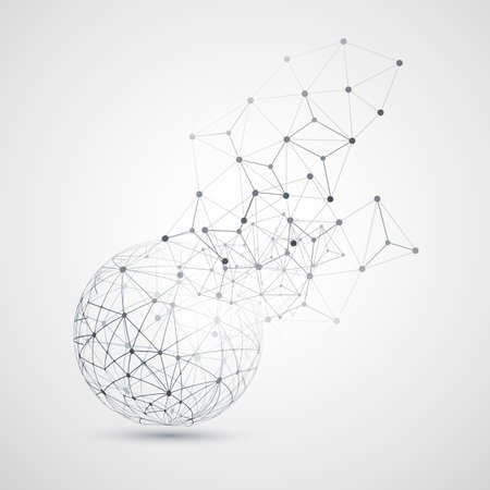 Abstract Cloud Computing and Network Connections Concept Design with Transparent Geometric Mesh, Wireframe Sphere- Illustration in Editable Vector Format