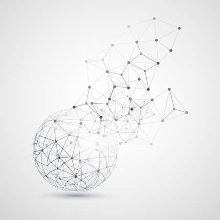 Abstract Cloud Computing en netwerkverbindingen Concept Design met transparante geometrische Mesh, Wireframe Sphere- Illustratie in bewerkbare vector-formaat