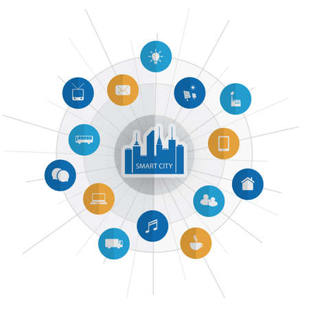 Eco Friendly Smart City Design Concept with Icons - Cloud Computing, IoT, IIoT, Public Network Structure, Technology Concept Background or Cover Template Illustration
