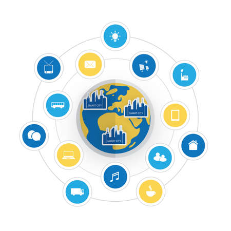 city icon: Eco Friendly Smart City Design Concept with Icons - Cloud Computing, IoT, IIoT, Public Network Structure, Technology Concept Background or Cover Template Illustration