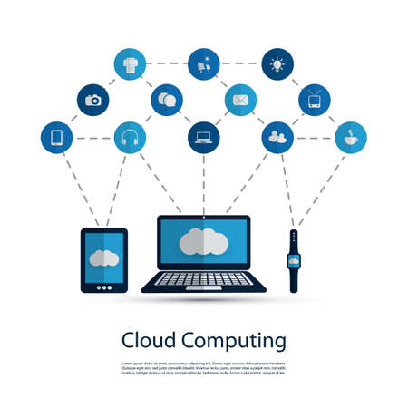cloud computer: Digital World - Networks, IoT and Cloud Computing Concept Design with Icons