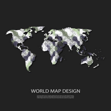 connected idea: Abstract World Map Background Design in Editable Vector Format