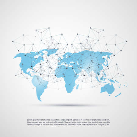 Blue Cloud Computing and Networks Concept with World Map