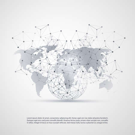 Cloud Computing and Networks Concept with World Map - Global Digital Network Connections, Technology Background, Creative Design Template with Transparent Geometric Grey Wire Mesh 일러스트