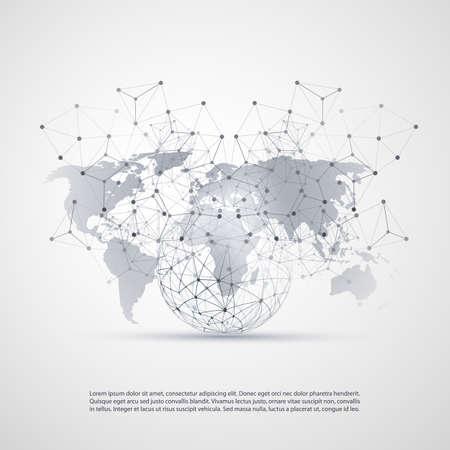 Cloud Computing e Reti di concetto con World Map - Connessioni di rete globale digitale, Sfondo tecnologia, modello di design creativo con trasparente geometrica metallica grigia Vettoriali