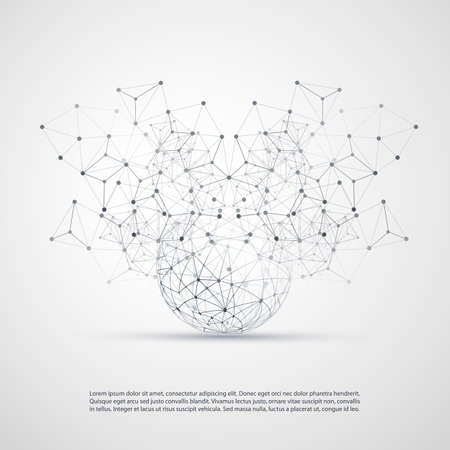 Abstract Cloud Computing and Network Connections Concept Design with Transparent Geometric Mesh, Wireframe Sphere