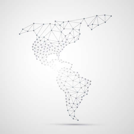 global network: Transparent Abstract Polygonal Map of North and South America, Digital Network Connections